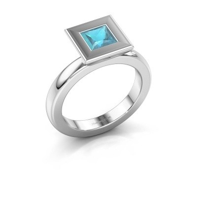 Stapelring Eloise Square 585 witgoud blauw topaas 5 mm