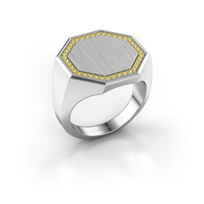 Heren ring Floris Octa 4 925 zilver gele saffier 1.2 mm