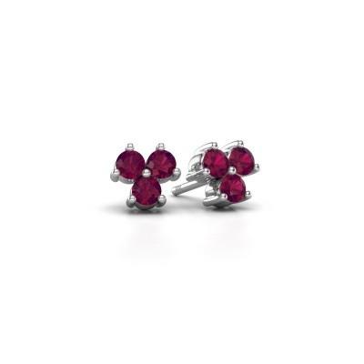 Picture of Stud earrings Shirlee 925 silver rhodolite 3 mm