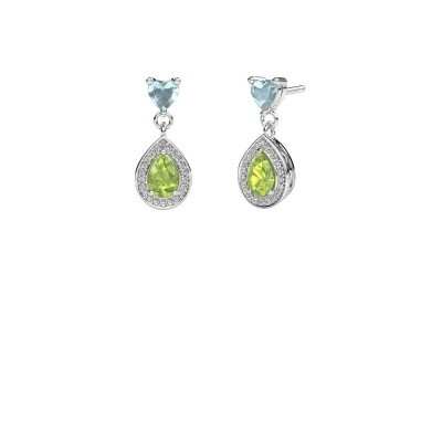 Picture of Drop earrings Susannah 585 white gold peridot 6x4 mm