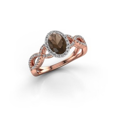 Engagement ring Dionne ovl 585 rose gold smokey quartz 7x5 mm