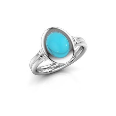 Foto van Ring Brittni 950 platina blauw topaas 9x7 mm