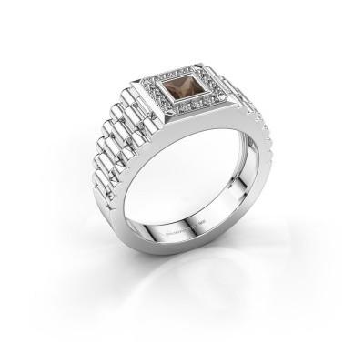 Foto van Rolex stijl ring Zilan 585 witgoud rookkwarts 4 mm