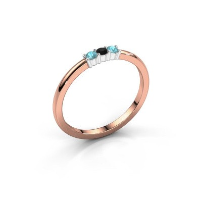 Foto van Verlovings ring Yasmin 3 585 rosé goud zwarte diamant 0.036 crt