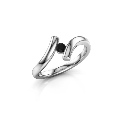 Foto van Ring Amy 950 platina zwarte diamant 0.12 crt