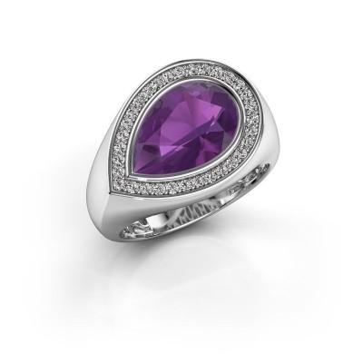 Ring Latashia 925 zilver amethist 12x8 mm