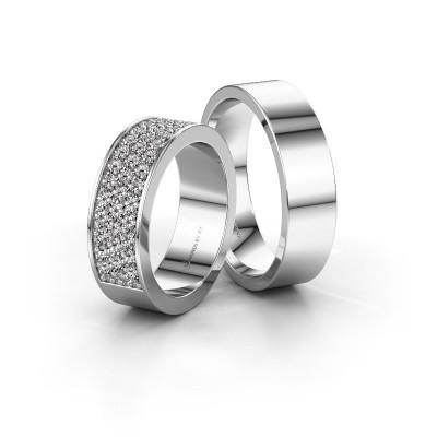 Foto van Trouwringen set WHR0294LM16AP ±6x2 mm 14 karaat witgoud diamant 0.02 crt