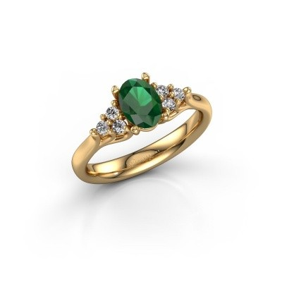 Picture of Engagement ring Monika OVL 375 gold emerald 7x5 mm