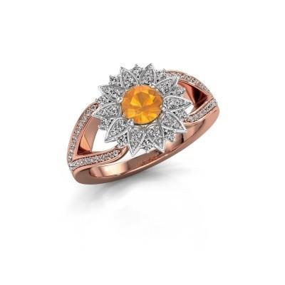 Aanzoeksring Chasidy 2 585 rosé goud citrien 5 mm