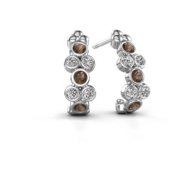 Earrings Kayleigh 585 white gold smokey quartz 2.4 mm