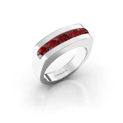 Photo de Bague pour homme Richard 375 or blanc rubis 4 mm
