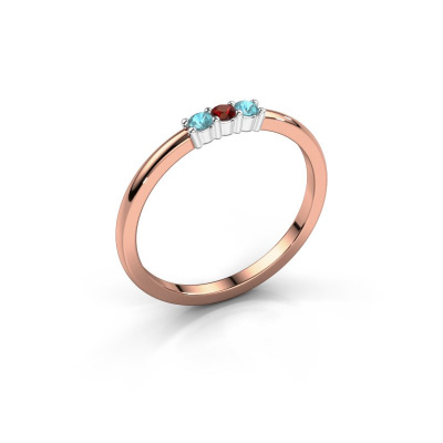 Verlovings ring Yasmin 3 585 rosé goud granaat 2 mm