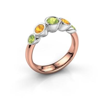 Ring Lizz 585 rosé goud peridoot 4 mm