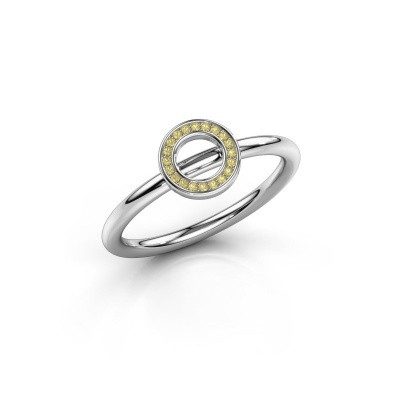 Ring Shape round small 375 witgoud gele saffier 0.8 mm