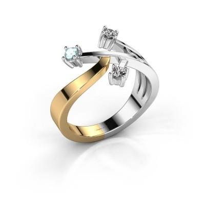 Ring Lillian 585 goud aquamarijn 2.5 mm