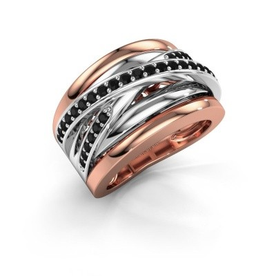 Foto van Ring Clair 3 585 rosé goud zwarte diamant 0.594 crt