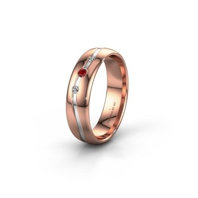 Friendship ring WH0907L35X 585 rose gold ruby ±0.20x0.05 in
