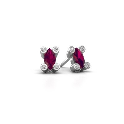 Picture of Stud earrings Cornelia Marquis 925 silver rhodolite 7x3 mm