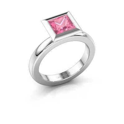 Stapelring Trudy Square 925 zilver roze saffier 6 mm