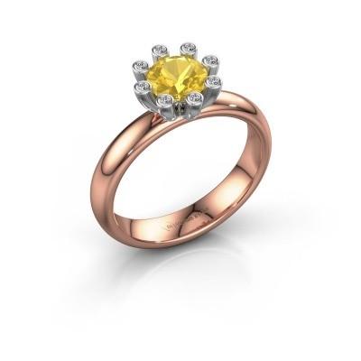 Stapelring Carola 3 585 rosé goud gele saffier 6 mm