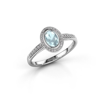 Engagement ring Noud 2 OVL 585 white gold aquamarine 6x4 mm