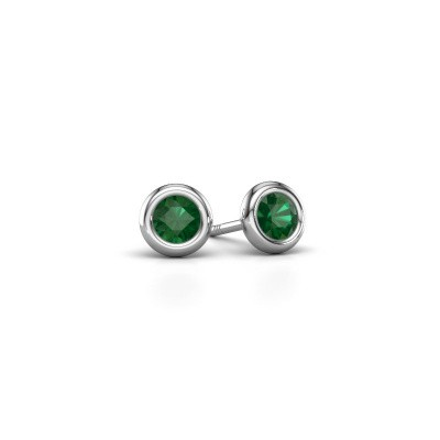Picture of Stud earrings Lieke RND 585 white gold emerald 4 mm