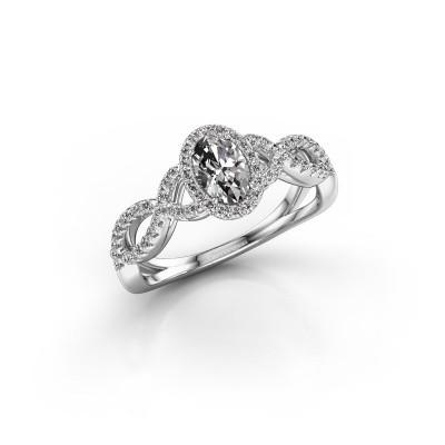 Engagement ring Dionne ovl 585 white gold diamond 0.82 crt