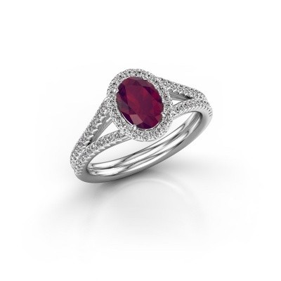 Engagement ring Rachele 2 950 platinum rhodolite 7x5 mm