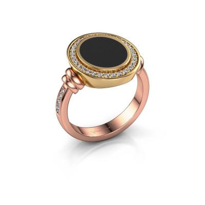 Zegelring Servie 2 585 rosé goud zwarte emaille 12x10 mm