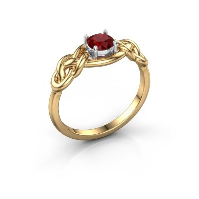 Ring Zoe 585 goud robijn 5 mm