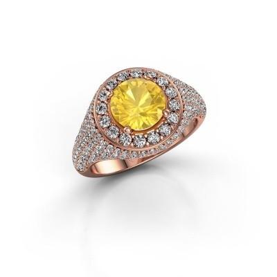 Foto van Ring Dayle 375 rosé goud gele saffier 7 mm
