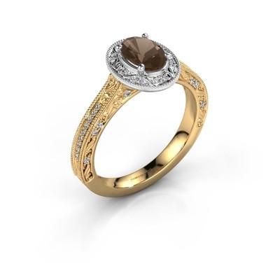 Verlovingsring Alice OVL 585 goud rookkwarts 7x5 mm