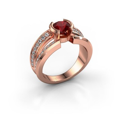 Photo de Bague pour homme Rowan 375 or rose rubis 6.5 mm