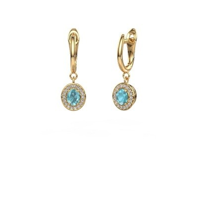Drop earrings Nakita 375 gold blue topaz 5x4 mm
