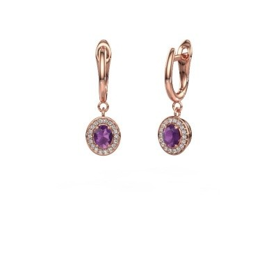 Drop earrings Nakita 375 rose gold amethyst 5x4 mm