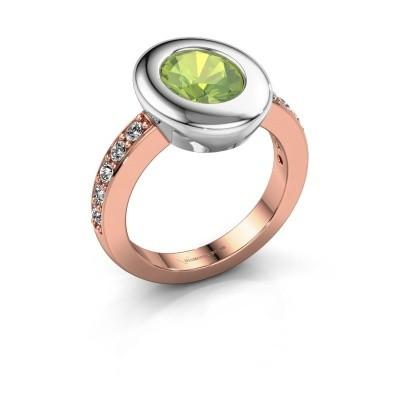 Ring Selene 2 585 rosé goud peridoot 9x7 mm