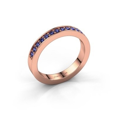 Stackable ring Loes 6 375 rose gold sapphire 1.7 mm