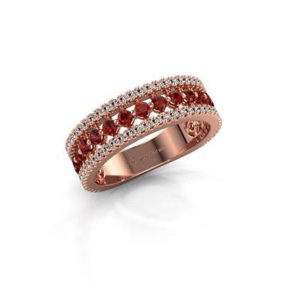 Verlovingsring Elizbeth 1 375 rosé goud granaat 2 mm