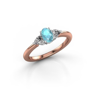 Picture of Engagement ring Chanou OVL 585 rose gold blue topaz 6x4 mm