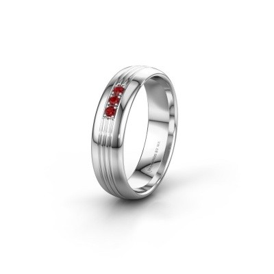 Wedding ring WH0405L35X 585 white gold ruby ±5x1.5 mm