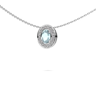 Picture of Necklace Madelon 585 white gold aquamarine 6x4 mm