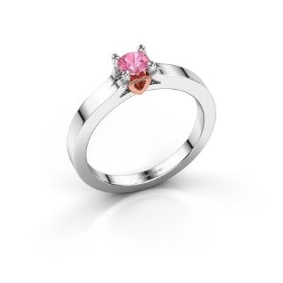 Foto van Belofte ring Eliz 585 witgoud roze saffier 4.2 mm