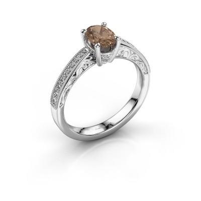 Verlovingsring Shonta OVL 585 witgoud bruine diamant 0.93 crt