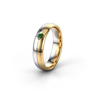 Wedding ring WH0221L35X 585 gold emerald ±5x1.5 mm