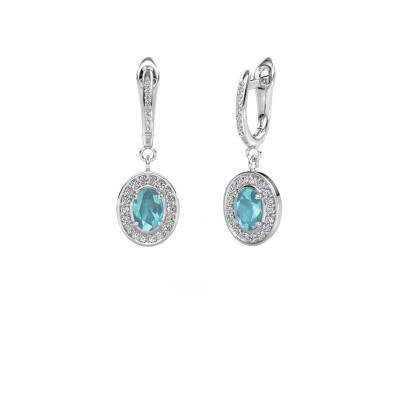 Picture of Drop earrings Layne 2 585 white gold blue topaz 7x5 mm