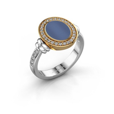 Zegelring Frido F 585 witgoud blauw lagensteen 10x8 mm