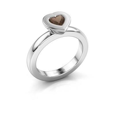 Stapelring Eloise Heart 925 zilver rookkwarts 5 mm