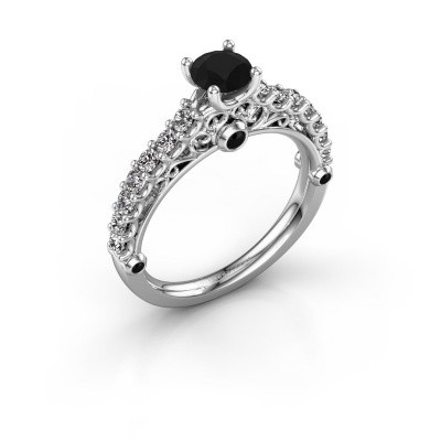 Verlovingsring Shaunda 950 platina zwarte diamant 1.100 crt