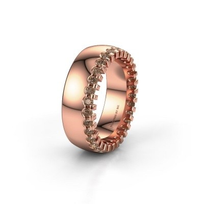 Wedding ring WH6120L27C 375 rose gold brown diamond ±7x2.2 mm