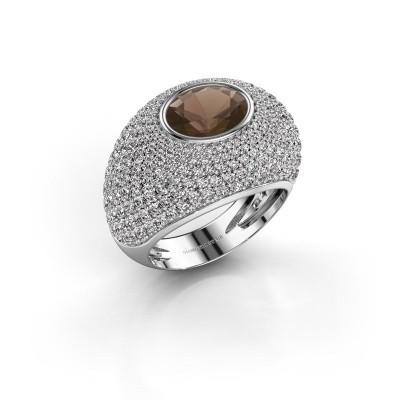Foto van Ring Armida 925 zilver rookkwarts 9x7 mm